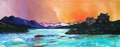 Scottish painting & prints of Eilean Donan Castle, West Highlands, Scotland, from an original Scottish landscape painting by Glasgow artist A Peutherer. Original mixed media painting in acrylic paint, spray paint, oil paint and acrylic ink on box canvas.