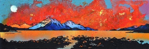 Skye Sunset from Raasay, Scottish Inner Hebrides - A range of prints of the original Scottish landscape painting by contemporary artist Andy Peutherer