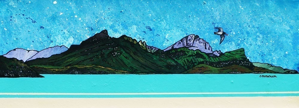 Painting & prints of Ben Tianavaig, Loch Sligachan, The Isle of Skye, Scottish Inner Hebrides, Scotland