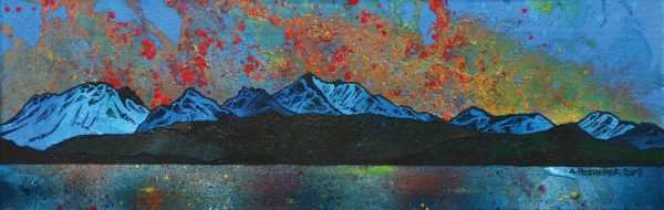 Painting and prints of The Hills of Arran including Goat Fell from Largs, Isle Of Arran, Ayrshire Coast, Scotland.