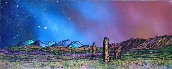 Scottish painting & prints of Machrie Moor Standing Stones, Early Spring, Isle of Arran, Scotland.