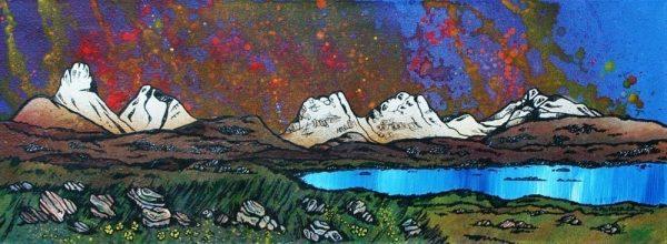 Painting & prints of Assynt, loch, Stac Pollaidh, Cul Beag, Sgorr Tuath, Beinn An Eoin and Ben Mor Coigach. Scottish Western Highlands.