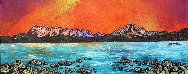 Paintings & prints of Ord Bay Sunset, Isle Of Skye, Scottish Western Isles.