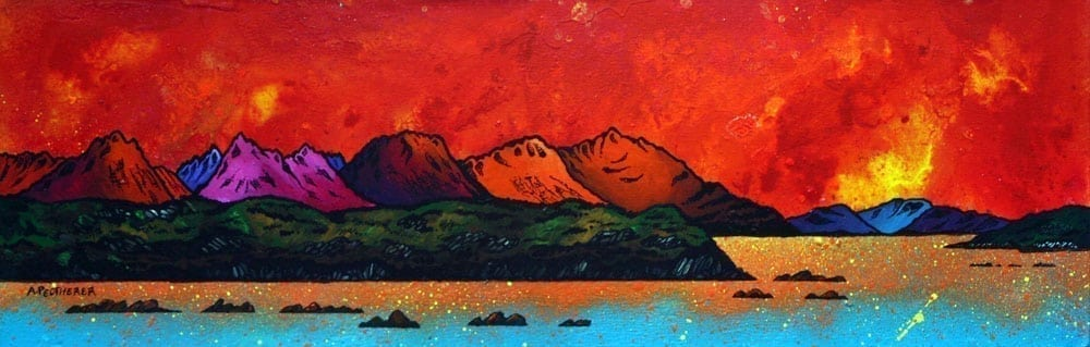 Painting & prints of Cuillin Red, Isle of Skye, Scottish Western Isles.