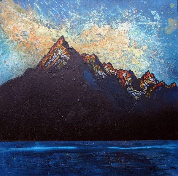 Painting & prints of Cuillin 2, Winter Sunset, Cuillin mountains, Isle Of Skye, Scotland.