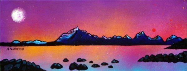 Paintings & prints of The Cuillin Purple Sunset, Loch Scavaig, Isle Of Skye, Inner Hebrides, Scotland.