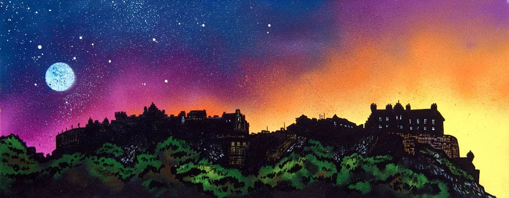 painting & prints of Edinburgh Castle, Scotland. Scottish landscape painting by Glasgow artist A Peutherer. Original mixed media painting in acrylic paint, spray paint, oil paint and acrylic ink on box canvas.