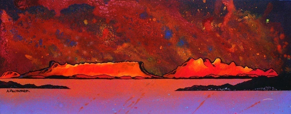 Painting & prints of Sound of Sleat, Rum & Eigg, Scottish Western Isles.