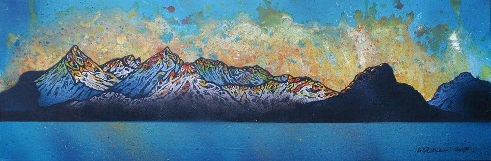 Painting & prints of Black Cuillin, Loch Scavaig, Isle Of Skye, Inner Hebrides, Scotland.