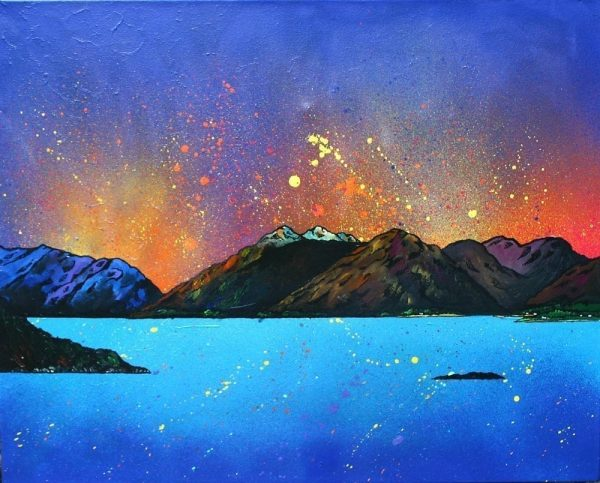 Scottish painting & prints of Garbh Bheinn Sunset, Loch Linnhe, Argyll, Scottish Highlands.