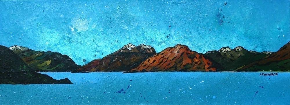 Scottish painting & prints of Garbh Bheinn across the Loch Linnhe, Argylle, Scottish Highlands.