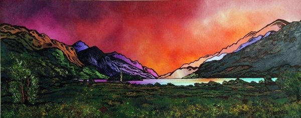 Scottish painting & prints of The Glenfinnan Monument and Loch Shiel, Highlands, Scotland.