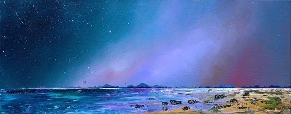 Isle Of Harris, Shore Twilight, Scottish Outer Hebrides - Prints of the original Scottish landscape painting by contemporary artist Andy Peutherer