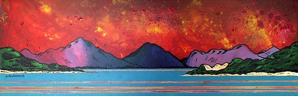 Painting & prints of Seilebost Beach, Isle of Harris, Scottish Western Isles.