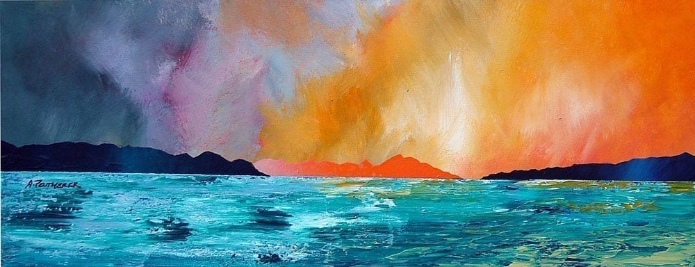 Huisinis Sunset On The Isle Of Harris, Scottish Outer Hebrides - - Prints of an original Scottish Contemporary landscape painting by artist Andy Peutherer