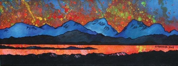 Painting & prints of The Paps of Jura from the Isle of Islay, Isle Of Jura, Scottish Inner Hebrides, Scotland