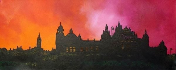 Painting & prints of Kelvingrove Museum & Glasgow University, Scotland by Scottish Artist A Peutherer