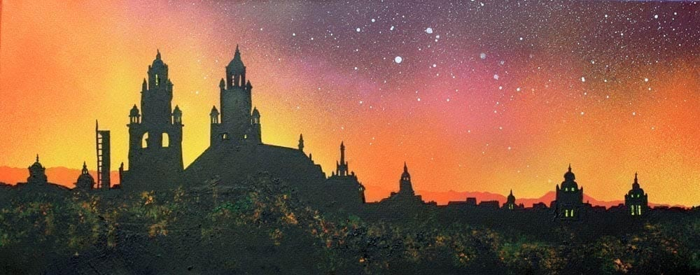 Kelvingrove Museum Sunset, Glasgow Westend, Scotland- A range of prints of the original Scottish landscape painting by contemporary artist Andy Peutherer