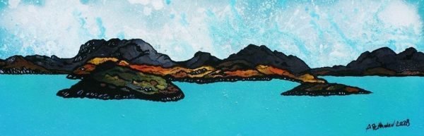 Contemporary mixed media fine art landscape painting and prints of The Islands off Loch Broom, Ullapool, West Highlands