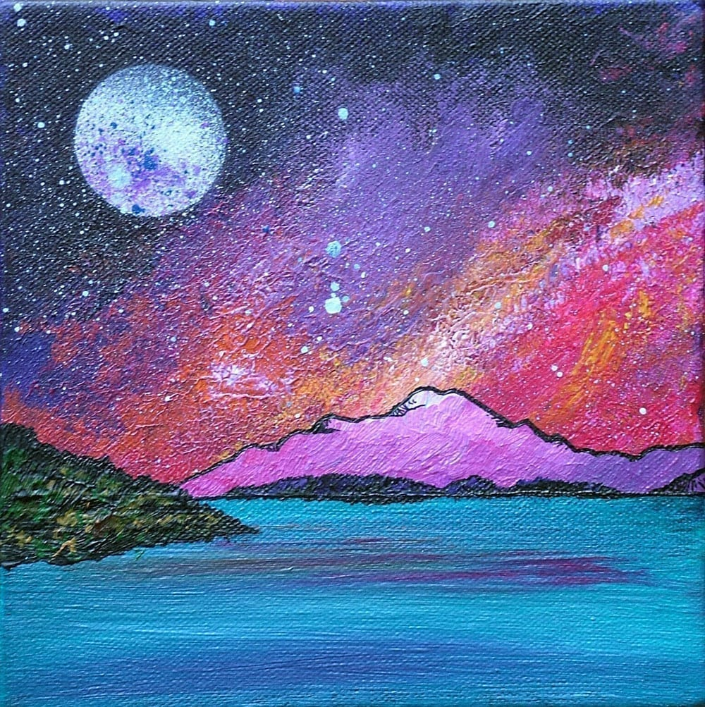 Contemporary paintings, prints of Ben Lomond Sunset, Loch Lomond, Scottish Highlands.