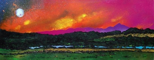 Painting & prints of Benachie Sunset, loch Of Skene, Aberdeenshire, Scotland from an original Scottish landscape painting by Glasgow artist A Peutherer. Original mixed media painting in acrylic paint, spray paint, oil paint and acrylic ink on box canvas.