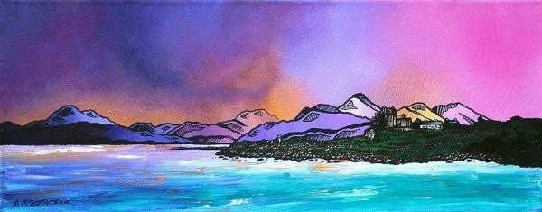 Painting & prints of Duart Castle Winter Sky, Isle Of Mull, Scottish Inner Hebrides.
