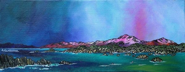 Painting & prints of Mull From iona, Scottish Western Isles, hebrides, Scotland