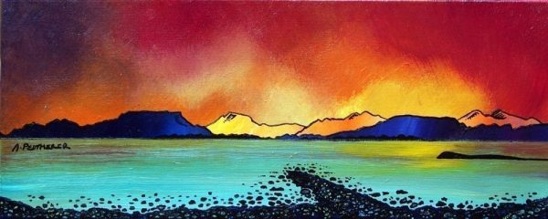 Scottish painting & prints of Oban Bay Sunset, Scotland.