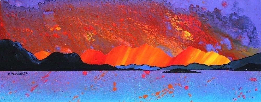 Scottish painting & prints of Mull Hills, Oban Harbour, Argyll, Scotland.