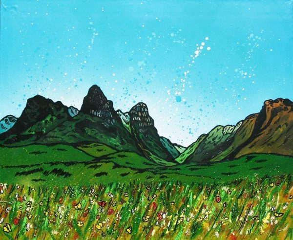 Contemporary mixed media fine art landscape painting and prints of The Pass of GlenCoe, Argyll, Scotland.