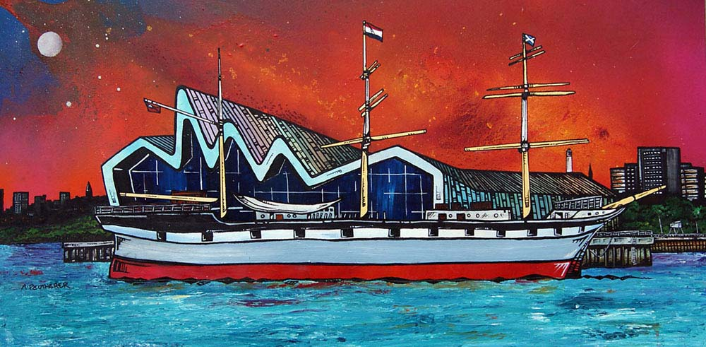 Painting & prints of Glasgow Riverside Museum & The Glenlee, Glasgow, Scotland.