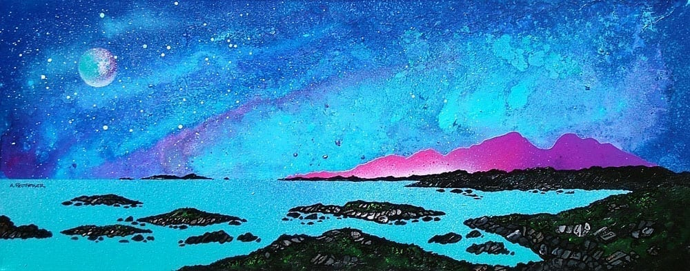 Scottish painting & prints of Rum And Sanna Bay, Ardnamurchan Peninsula.