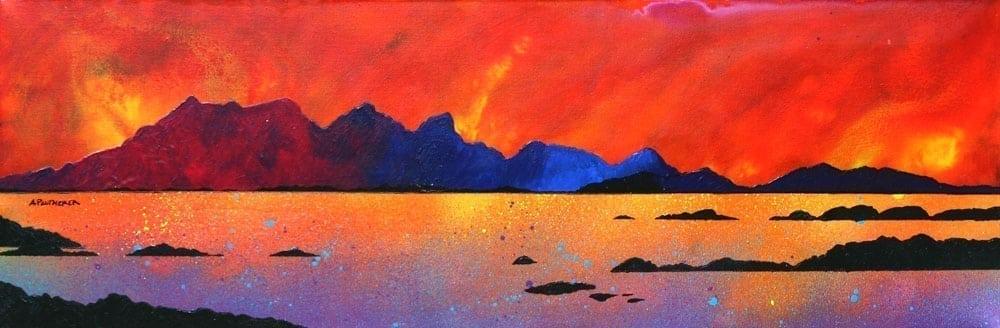 Isle of Rum Sunset, Arisaig, Western Isles - Prints of Original Painting