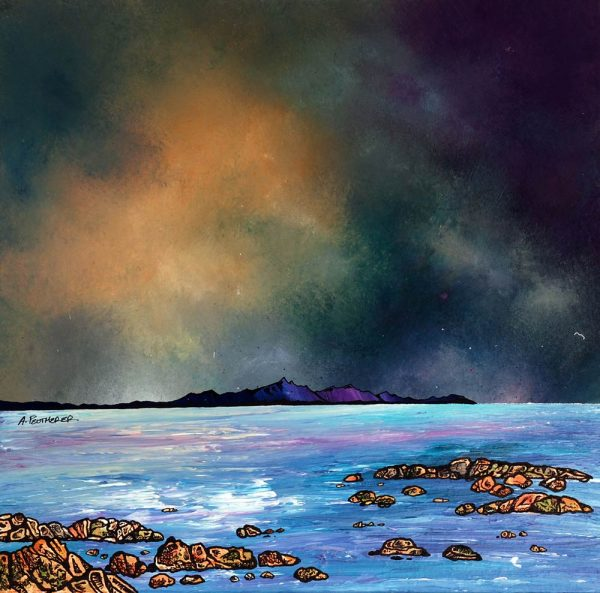 Scottish painting & prints of Arran from Troon, Ayrshire, Scotland.