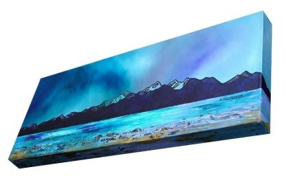 Arran & Goat Fell, Brodick, Scotland. Original painting on canvas by Scottish Artist A Peutherer