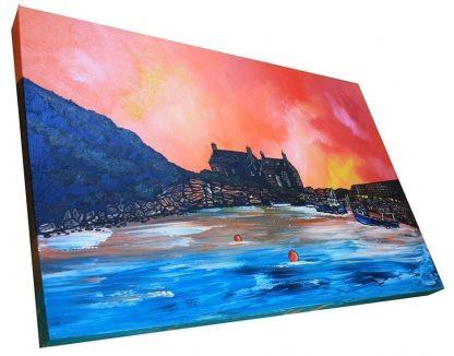 Box canvas painting of Cove Bay Harbour, Berwickshire, Scottish East Coast.