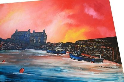 Contemporary Scottish fine art painting, prints and greetings cards of Cove Bay Harbour, Berwickshire, Scottish East Coast.