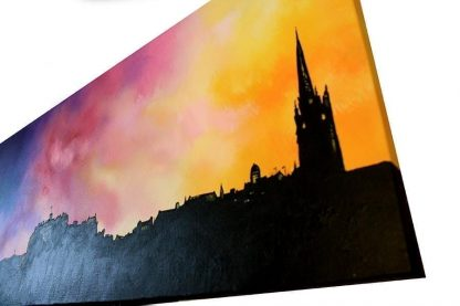 Evening Glow Over Edinburgh, Scotland Mixed media painting on canvas.