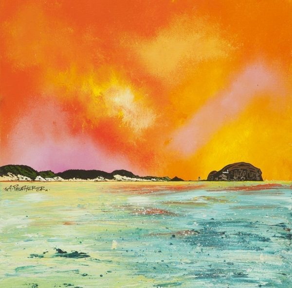 Scottish painting and prints of the Bass Rock from Dunbar, East, Lothian, Scotland