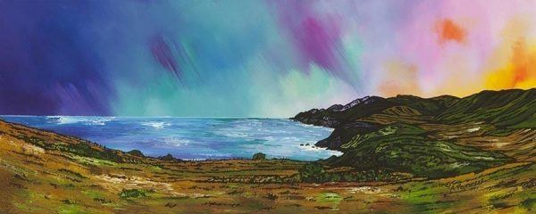 Scottish painting & prints of Siccar Point and Fast Castle Head From Above Pease Bay, Berwickshire, Scotland.