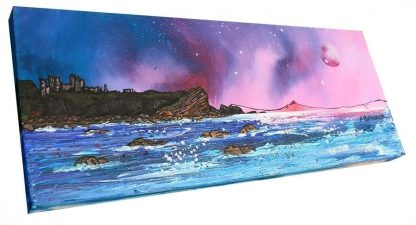 Scottish painting & prints of Tantallon Castle From Seacliff, East Lothian, Scotland.