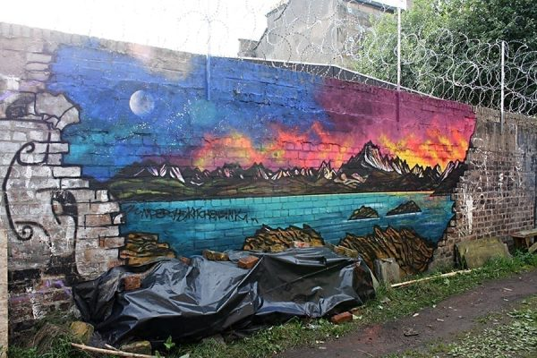 Skye painting, The Cuillin From Elgol, grafitti mural. Hidden Lane, Finneston, Glasgow.