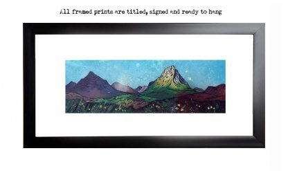 Framed print of Glencoe, Buachaille etive Mor and Glen Etive, Summer, Scotland. original Scottish landscape painting by Glasgow artist A Peutherer. Original mixed media painting in acrylic paint, spray paint, oil paint and acrylic ink on box canvas.