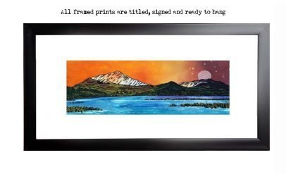 Framed print of Schiehallion, Perthshire, Scottish Highlands, from an original Scottish landscape painting by Glasgow artist A Peutherer. Original mixed media painting in acrylic paint, spray paint, oil paint and acrylic ink on box canvas.