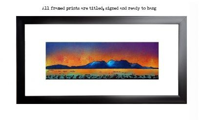 print of Arran from Portencross, Scotland. from an original Scottish landscape painting by Glasgow artist A Peutherer. Original mixed media painting in acrylic paint, spray paint, oil paint and acrylic ink on box canvas.