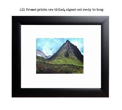 Framed print of Buachaille Etive Mor Summer, Scottish Highlands. from an original Scottish landscape painting by Glasgow artist A Peutherer. Original mixed media painting in acrylic paint, spray paint, oil paint and acrylic ink on box canvas.