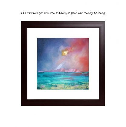 Framed print of Arran from Scalpsie Bay, Isle of Bute, Scotland