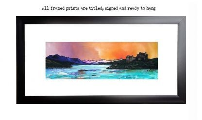 Framed print of Eilean Donan Castle Winter Dusk, West Highlands, Scotland, from an original Scottish landscape painting by Glasgow artist A Peutherer. Original mixed media painting in acrylic paint, spray paint, oil paint and acrylic ink on box canvas.