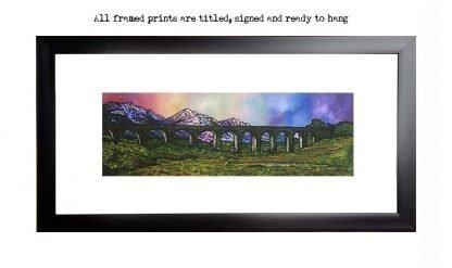 Framed print of the Glenfinnan Viaduct, Lochaber, Scottish Highlands, from an original Scottish landscape painting by Glasgow artist A Peutherer. Original mixed media painting in acrylic paint, spray paint, oil paint and acrylic ink on box canvas.