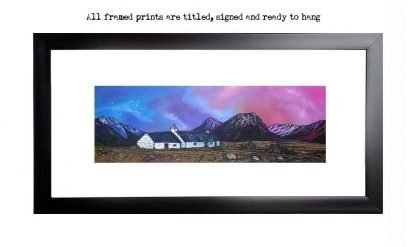 Framed print of Glencoe, black Rock Cottage, glen Etive and Buachaille etive Mor, Scotland. original Scottish landscape painting by Glasgow artist A Peutherer. Original mixed media painting in acrylic paint, spray paint, oil paint and acrylic ink on box canvas.